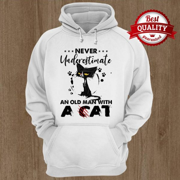 Never Underestimate An Old Man With A Cat Black Footprint Hoodie