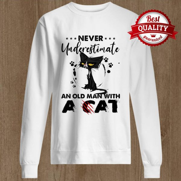 Never Underestimate An Old Man With A Cat Black Footprint Sweater