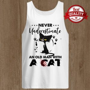 Never Underestimate An Old Man With A Cat Black Footprint Tank Top