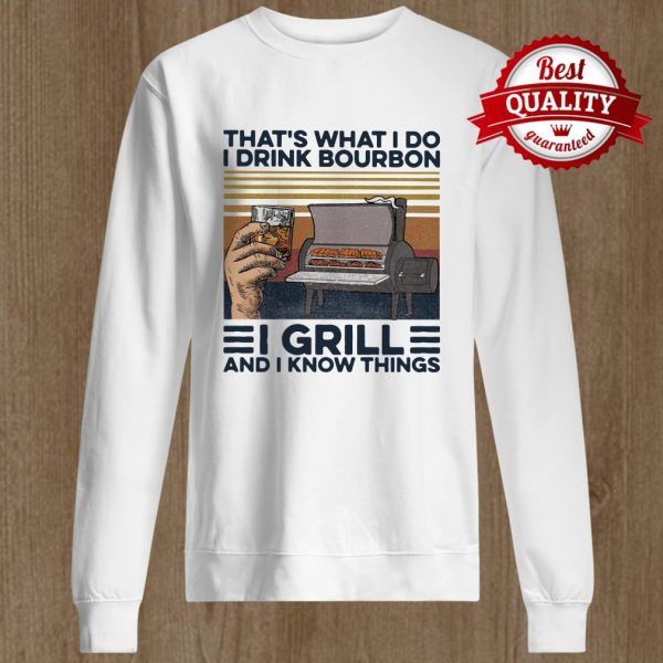 That's What I Do I Drink Bourbon I Grill And I Know Things Hand Cup Glasses Oven Mitts Vintage Retro Sweater